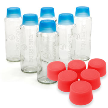 18 oz Aquasana Glass Water Bottles - 6 Pack w/ Red Caps