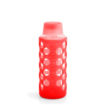 Bottle with Silicone Sleeve & Cap - Red