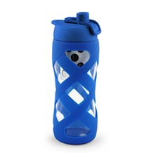 Glass Bottle w/ Sleeve - Blue