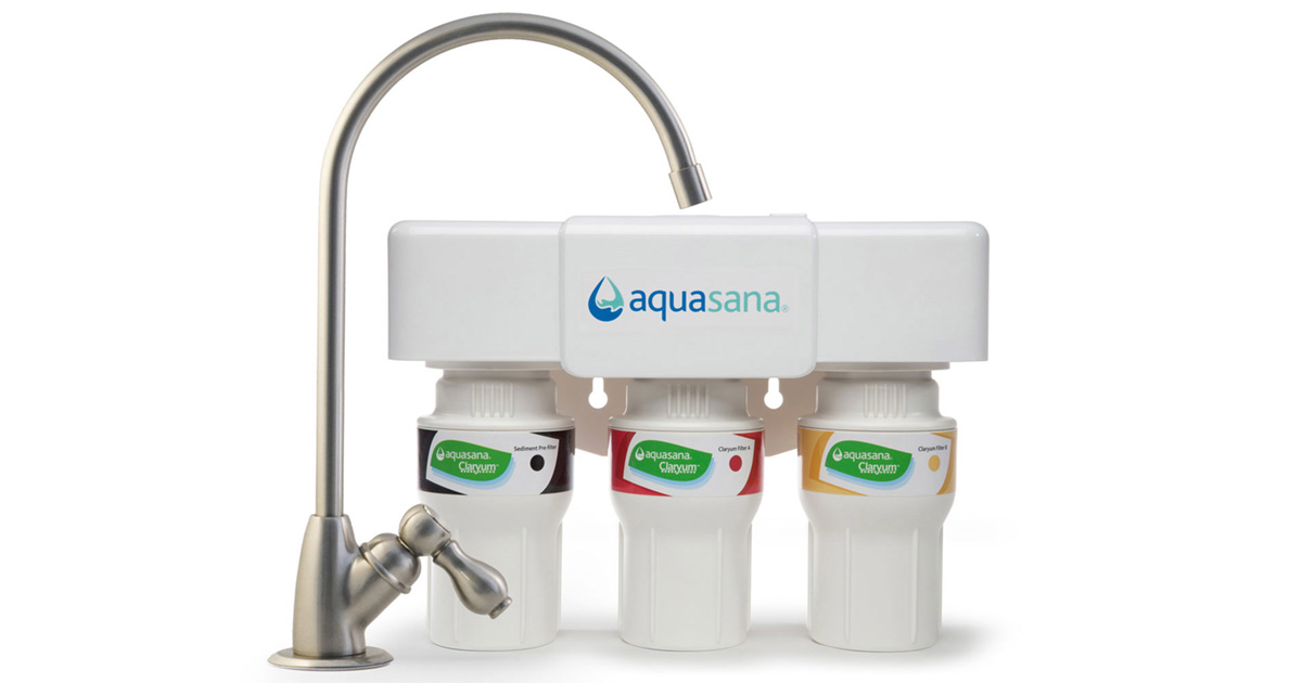 3 Stage Under Counter Water Filter Brushed Nickel Aquasana